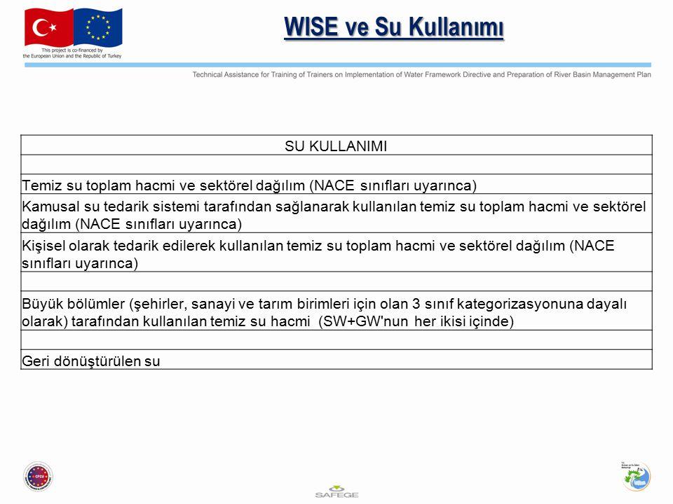 WISE ve Su Kullanımı SU KULLANIMI Temiz su toplam hacmi ve sektörel dağılım (NACE sınıfları uyarınca) Kamusal su tedarik sistemi tarafından sağlanarak