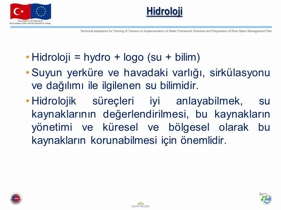 Hidroloji Hidroloji = hydro + logo (su + bilim) Suyun yerküre ve havadaki varlığı, sirkülasyonu ve dağılımı ile ilgilenen su bilimidir. Hidrolojik sür