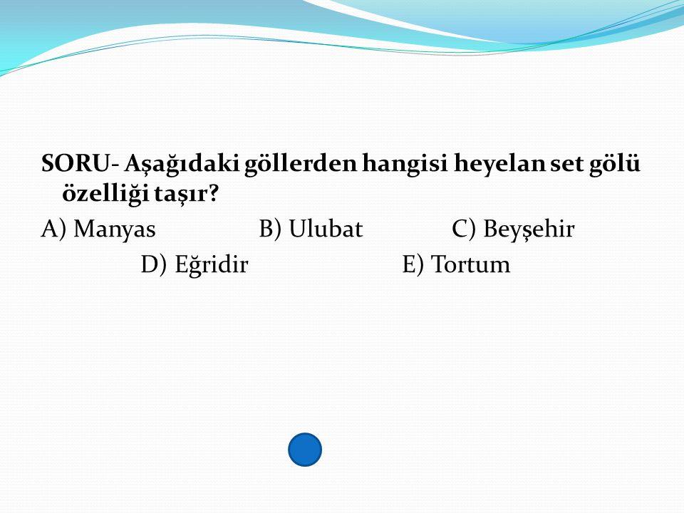 SORU- Aşağıdaki göllerden hangisi heyelan set gölü özelliği taşır? A) Manyas B) UlubatC) Beyşehir D) Eğridir E) Tortum