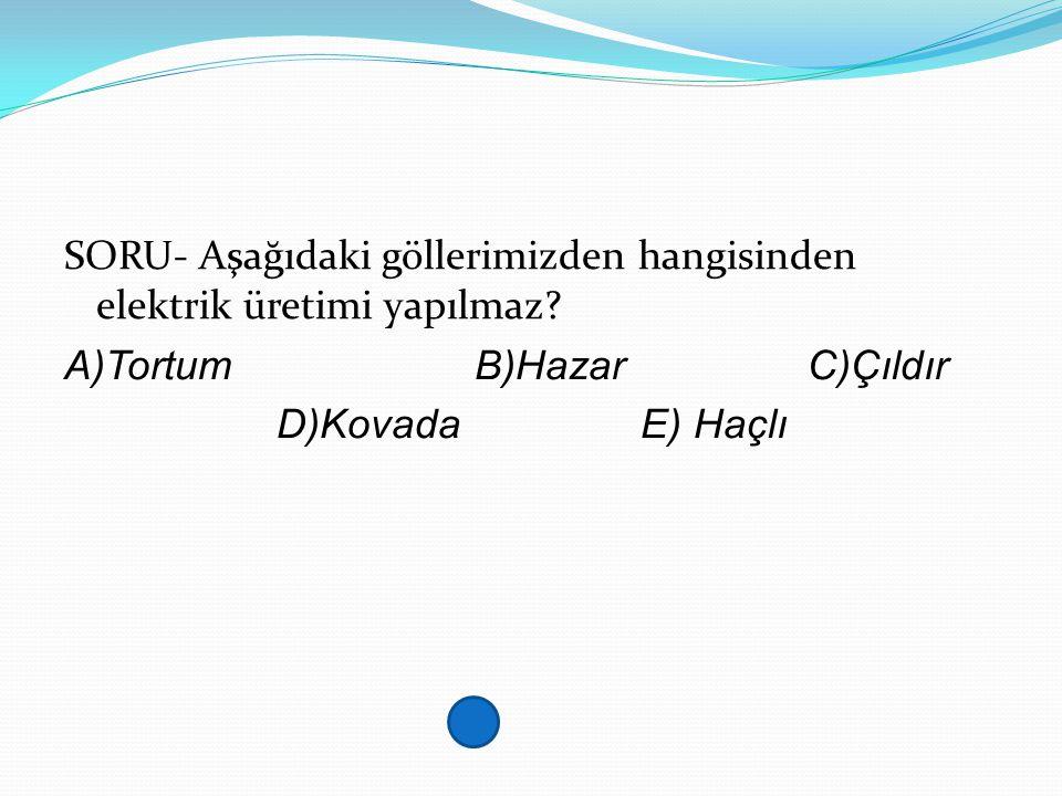SORU- Aşağıdaki göllerimizden hangisinden elektrik üretimi yapılmaz? A)Tortum B)Hazar C)Çıldır D)Kovada E) Haçlı