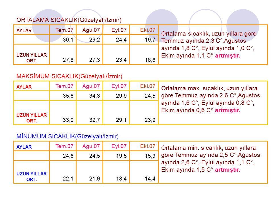 ORTALAMA SICAKLIK(Güzelyalı/İzmir) AYLAR Tem.07Agu.07Eyl.07Eki.07 Ortalama sıcaklık, uzun yıllara göre Temmuz ayında 2,3 C°,Ağustos ayında 1,8 C°, Eyl