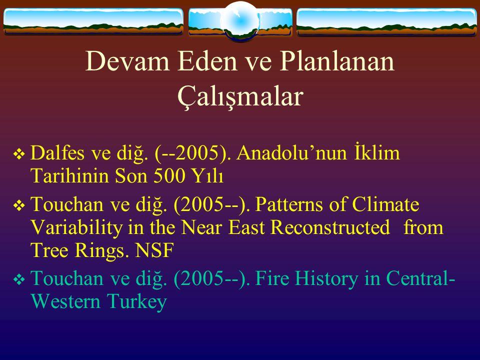 Devam Eden ve Planlanan Çalışmalar  Dalfes ve diğ. (--2005). Anadolu'nun İklim Tarihinin Son 500 Yılı  Touchan ve diğ. (2005--). Patterns of Climate