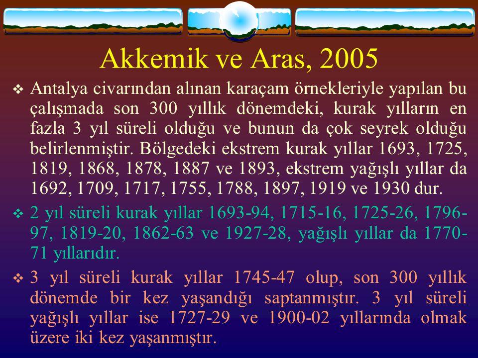  Antalya civarından alınan karaçam örnekleriyle yapılan bu çalışmada son 300 yıllık dönemdeki, kurak yılların en fazla 3 yıl süreli olduğu ve bunun d