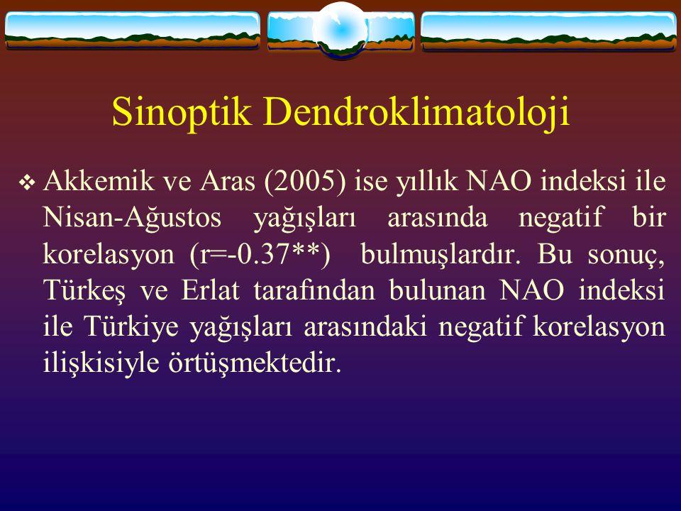 Sinoptik Dendroklimatoloji  Akkemik ve Aras (2005) ise yıllık NAO indeksi ile Nisan-Ağustos yağışları arasında negatif bir korelasyon (r=-0.37**) bul