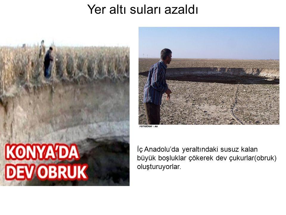 Yer altı suları azaldı İç Anadolu'da yeraltındaki susuz kalan büyük boşluklar çökerek dev çukurlar(obruk) oluşturuyorlar.