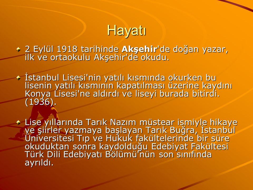 Tarık Buğra, ilk piyeslerini ve Yalnızların Romanı nı askerliği sırasında yazmıştı.