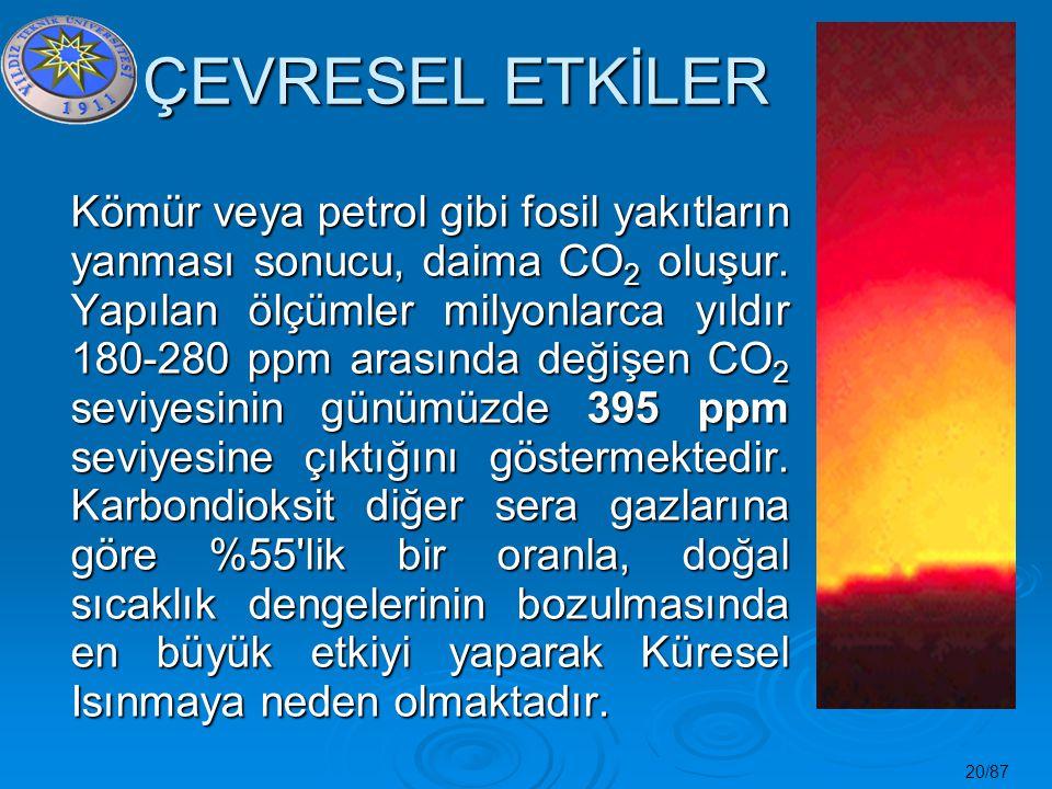 20/87 ÇEVRESEL ETKİLER Kömür veya petrol gibi fosil yakıtların yanması sonucu, daima CO 2 oluşur. Yapılan ölçümler milyonlarca yıldır 180-280 ppm aras