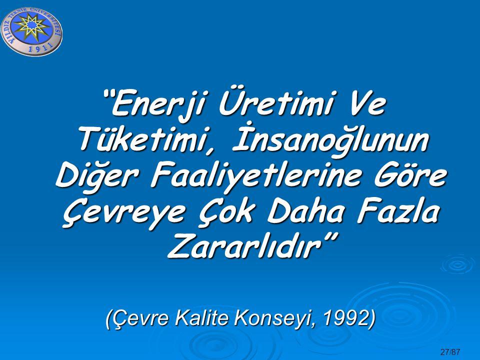 """27/87 """"Enerji Üretimi Ve Tüketimi, İnsanoğlunun Diğer Faaliyetlerine Göre Çevreye Çok Daha Fazla Zararlıdır"""" (Çevre Kalite Konseyi, 1992)"""