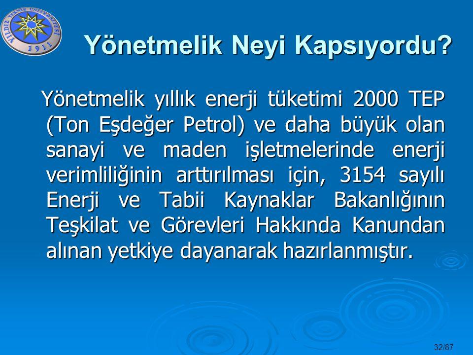 32/87 Yönetmelik Neyi Kapsıyordu? Yönetmelik yıllık enerji tüketimi 2000 TEP (Ton Eşdeğer Petrol) ve daha büyük olan sanayi ve maden işletmelerinde en