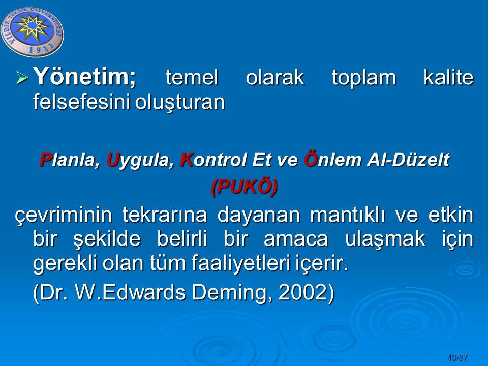 40/87  Yönetim; temel olarak toplam kalite felsefesini oluşturan Planla, Uygula, Kontrol Et ve Önlem Al-Düzelt (PUKÖ) çevriminin tekrarına dayanan ma