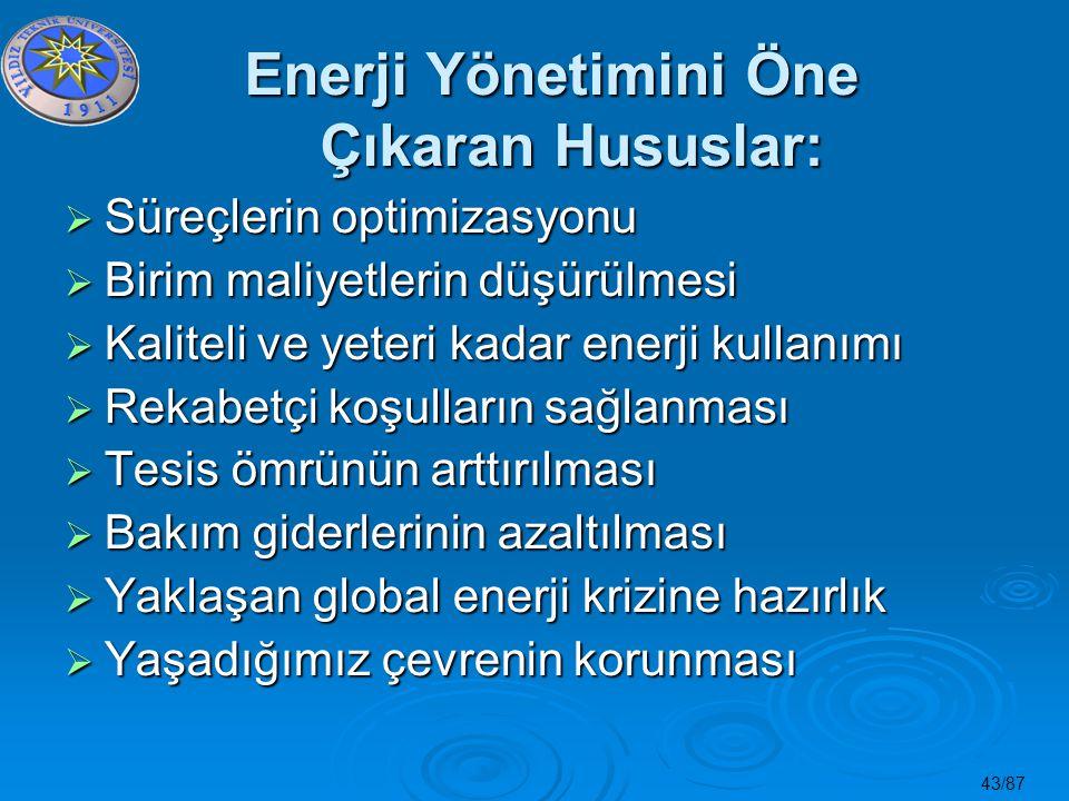 43/87 Enerji Yönetimini Öne Çıkaran Hususlar:  Süreçlerin optimizasyonu  Birim maliyetlerin düşürülmesi  Kaliteli ve yeteri kadar enerji kullanımı