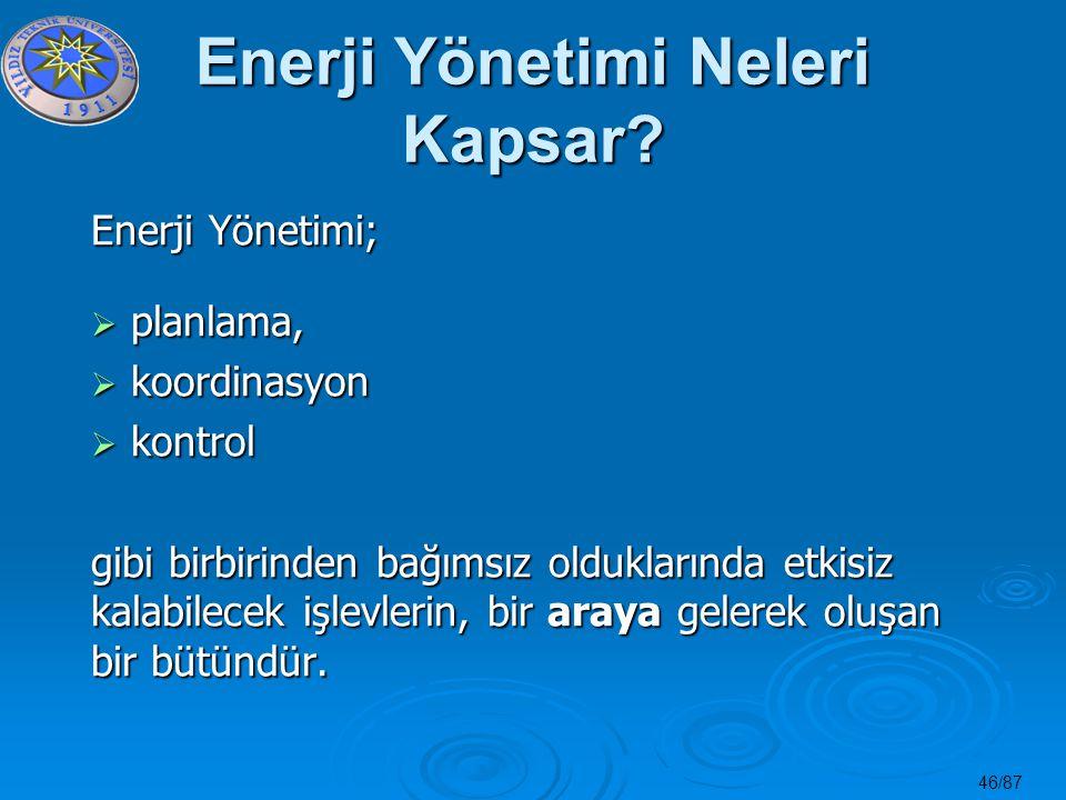 46/87 Enerji Yönetimi Neleri Kapsar? Enerji Yönetimi;  planlama,  koordinasyon  kontrol gibi birbirinden bağımsız olduklarında etkisiz kalabilecek