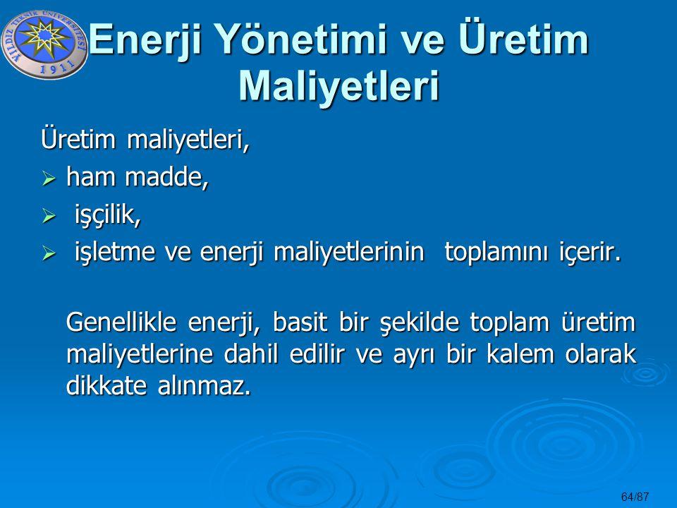64/87 Enerji Yönetimi ve Üretim Maliyetleri Üretim maliyetleri,  ham madde,  işçilik,  işletme ve enerji maliyetlerinin toplamını içerir. Genellikl