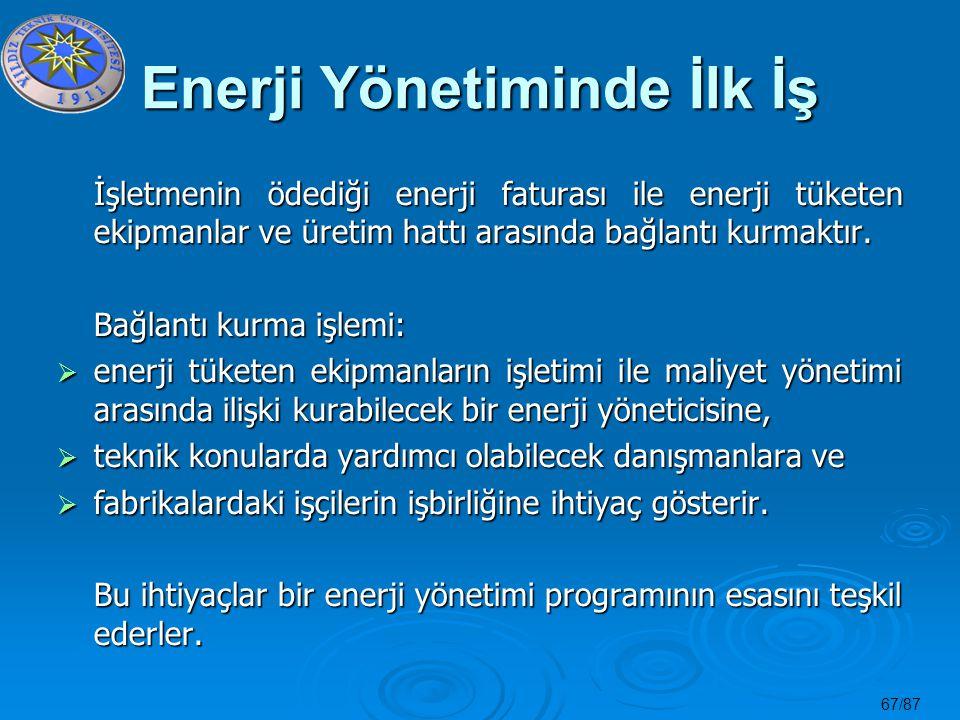 67/87 Enerji Yönetiminde İlk İş İşletmenin ödediği enerji faturası ile enerji tüketen ekipmanlar ve üretim hattı arasında bağlantı kurmaktır. Bağlantı