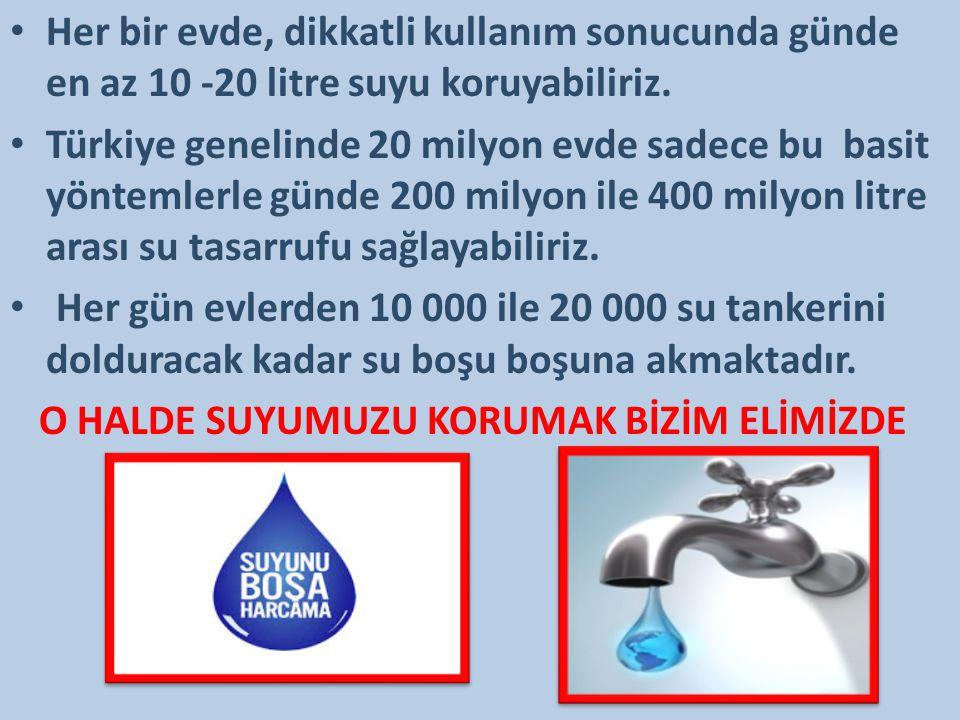 Her bir evde, dikkatli kullanım sonucunda günde en az 10 -20 litre suyu koruyabiliriz. Türkiye genelinde 20 milyon evde sadece bu basit yöntemlerle gü
