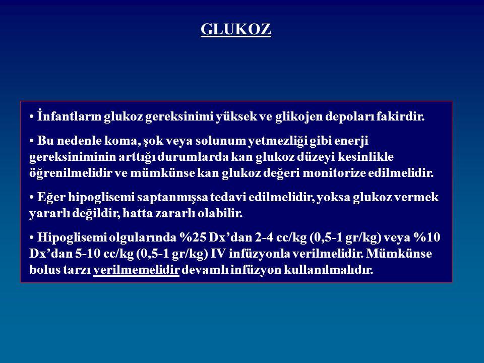 GLUKOZ İnfantların glukoz gereksinimi yüksek ve glikojen depoları fakirdir. Bu nedenle koma, şok veya solunum yetmezliği gibi enerji gereksiniminin ar