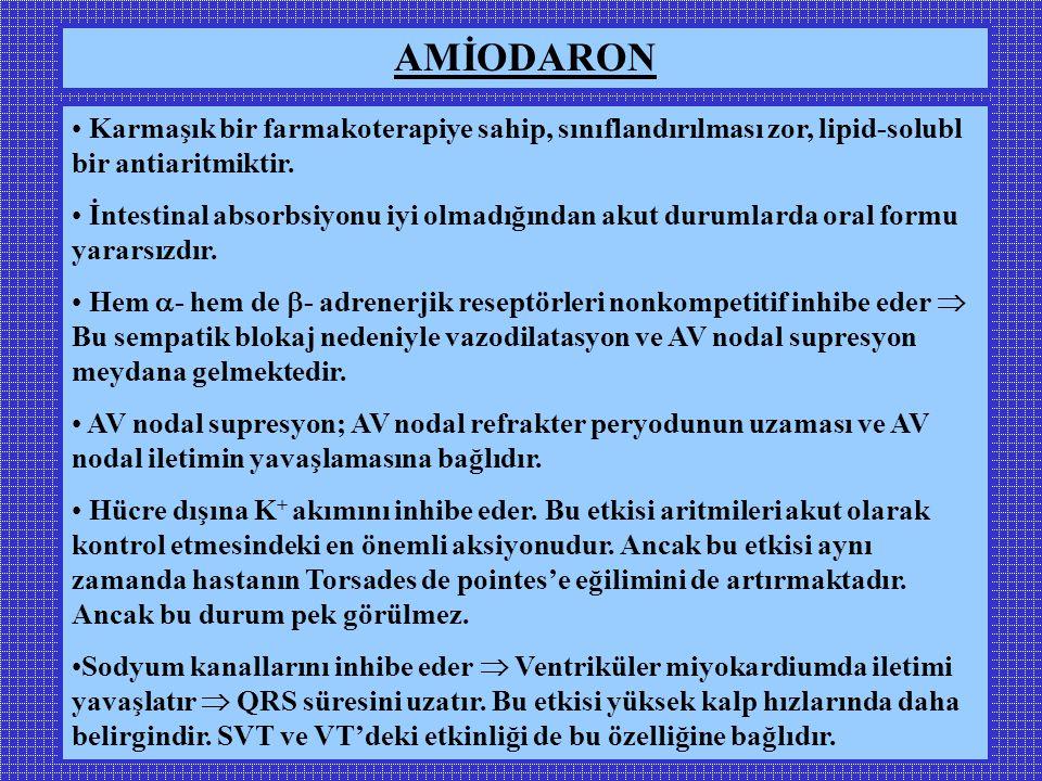 Karmaşık bir farmakoterapiye sahip, sınıflandırılması zor, lipid-solubl bir antiaritmiktir.