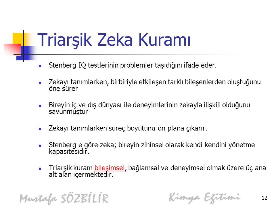 12 Triarşik Zeka Kuramı Stenberg IQ testlerinin problemler taşıdığını ifade eder.