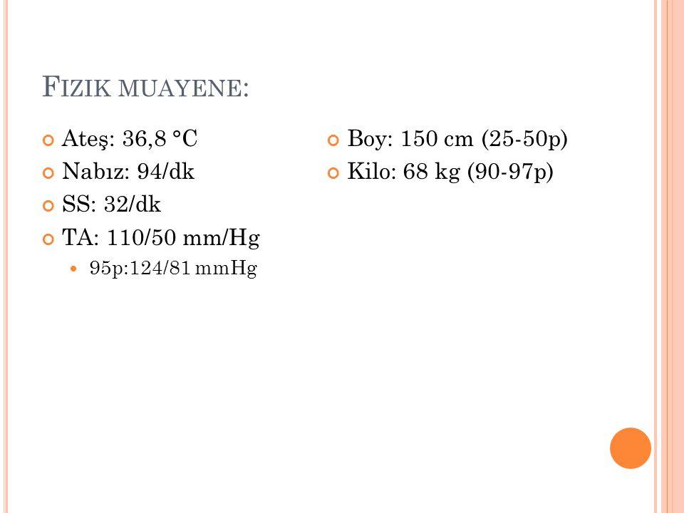 F IZIK MUAYENE : Ateş: 36,8 °C Nabız: 94/dk SS: 32/dk TA: 110/50 mm/Hg 95p:124/81 mmHg Boy: 150 cm (25-50p) Kilo: 68 kg (90-97p)