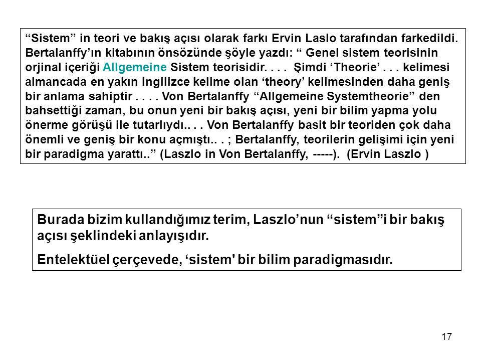 17 Sistem in teori ve bakış açısı olarak farkı Ervin Laslo tarafından farkedildi.