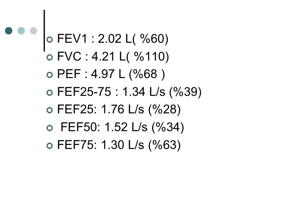 FEV1 : 2.02 L( %60) FVC : 4.21 L( %110) PEF : 4.97 L (%68 ) FEF25-75 : 1.34 L/s (%39) FEF25: 1.76 L/s (%28) FEF50: 1.52 L/s (%34) FEF75: 1.30 L/s (%63