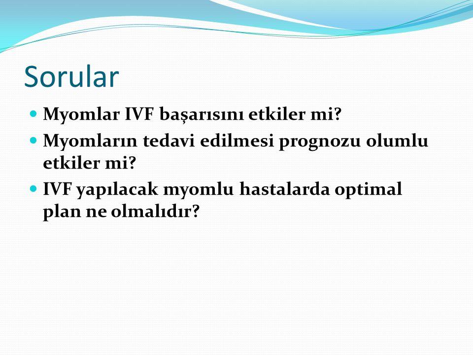 Sorular Myomlar IVF başarısını etkiler mi.Myomların tedavi edilmesi prognozu olumlu etkiler mi.