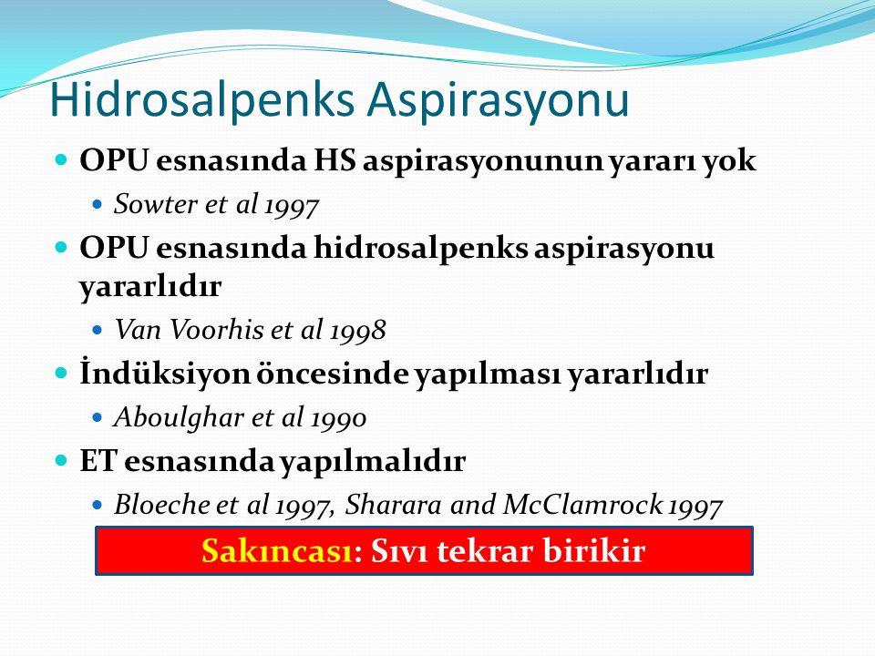 Hidrosalpenks Aspirasyonu OPU esnasında HS aspirasyonunun yararı yok Sowter et al 1997 OPU esnasında hidrosalpenks aspirasyonu yararlıdır Van Voorhis et al 1998 İndüksiyon öncesinde yapılması yararlıdır Aboulghar et al 1990 ET esnasında yapılmalıdır Bloeche et al 1997, Sharara and McClamrock 1997 Sakıncası: Sıvı tekrar birikir