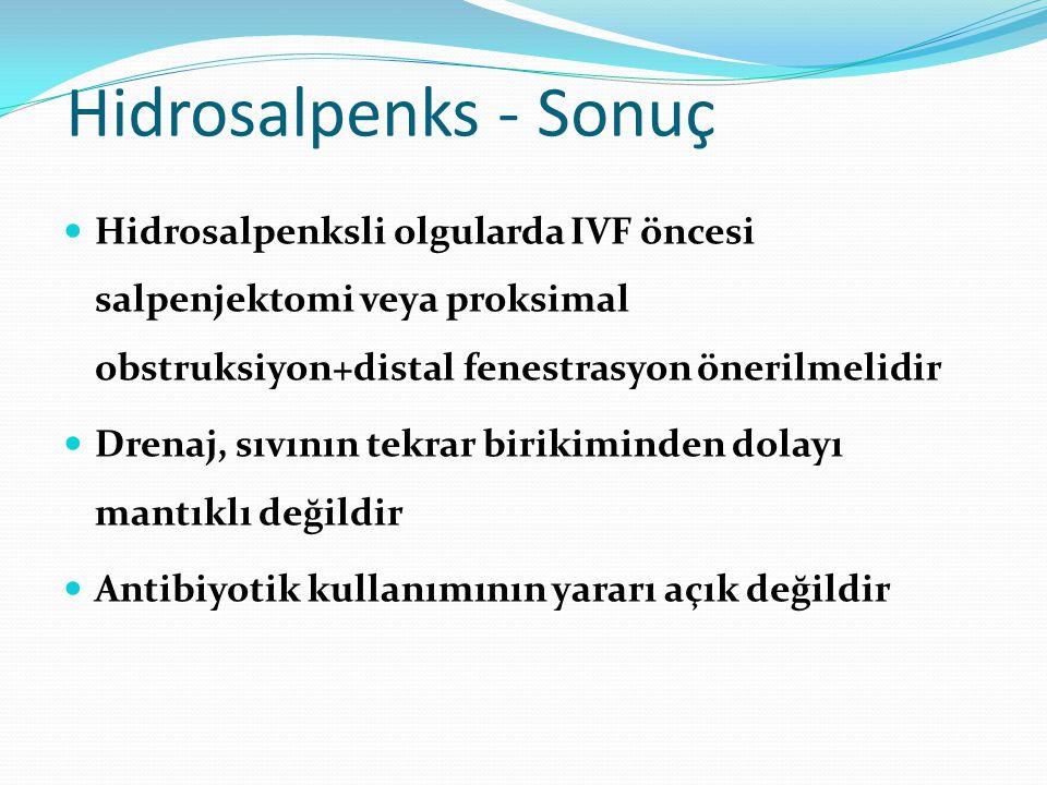 Hidrosalpenks - Sonuç Hidrosalpenksli olgularda IVF öncesi salpenjektomi veya proksimal obstruksiyon+distal fenestrasyon önerilmelidir Drenaj, sıvının tekrar birikiminden dolayı mantıklı değildir Antibiyotik kullanımının yararı açık değildir