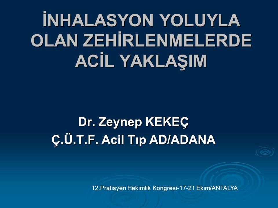 İNHALASYON YOLUYLA OLAN ZEHİRLENMELERDE ACİL YAKLAŞIM Dr. Zeynep KEKEÇ Ç.Ü.T.F. Acil Tıp AD/ADANA 12.Pratisyen Hekimlik Kongresi-17-21 Ekim/ANTALYA