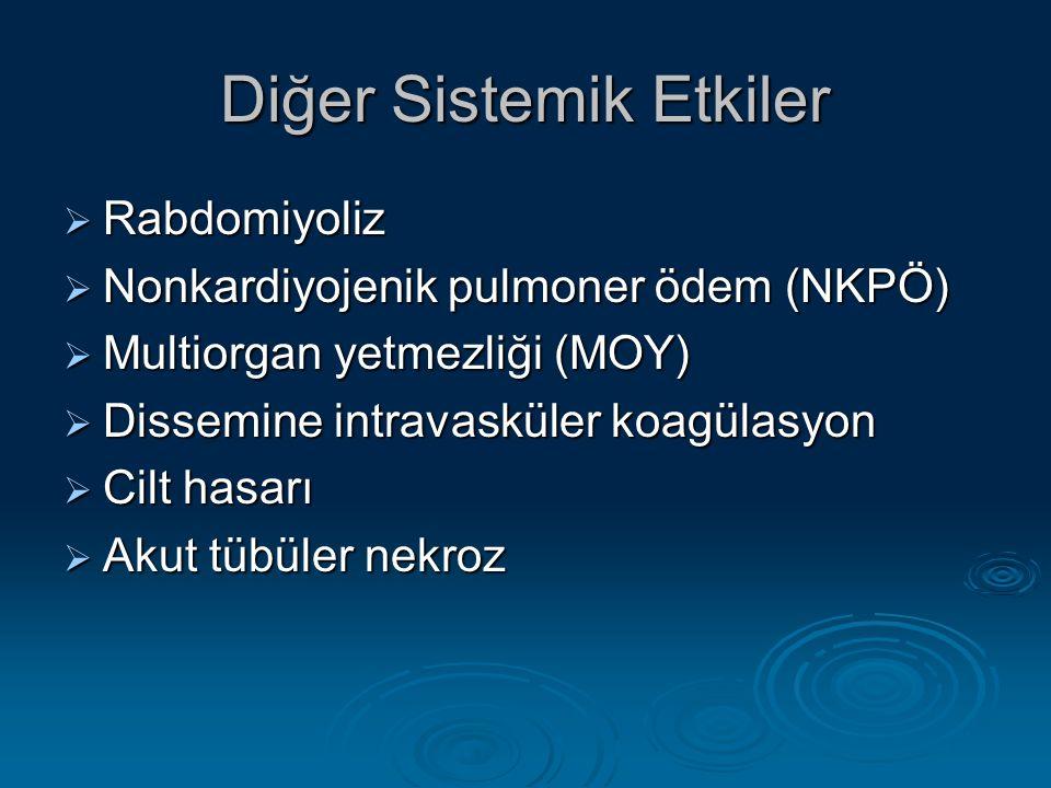 Diğer Sistemik Etkiler  Rabdomiyoliz  Nonkardiyojenik pulmoner ödem (NKPÖ)  Multiorgan yetmezliği (MOY)  Dissemine intravasküler koagülasyon  Cilt hasarı  Akut tübüler nekroz