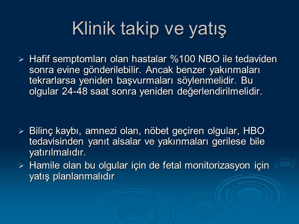 Klinik takip ve yatış  Hafif semptomları olan hastalar %100 NBO ile tedaviden sonra evine gönderilebilir.