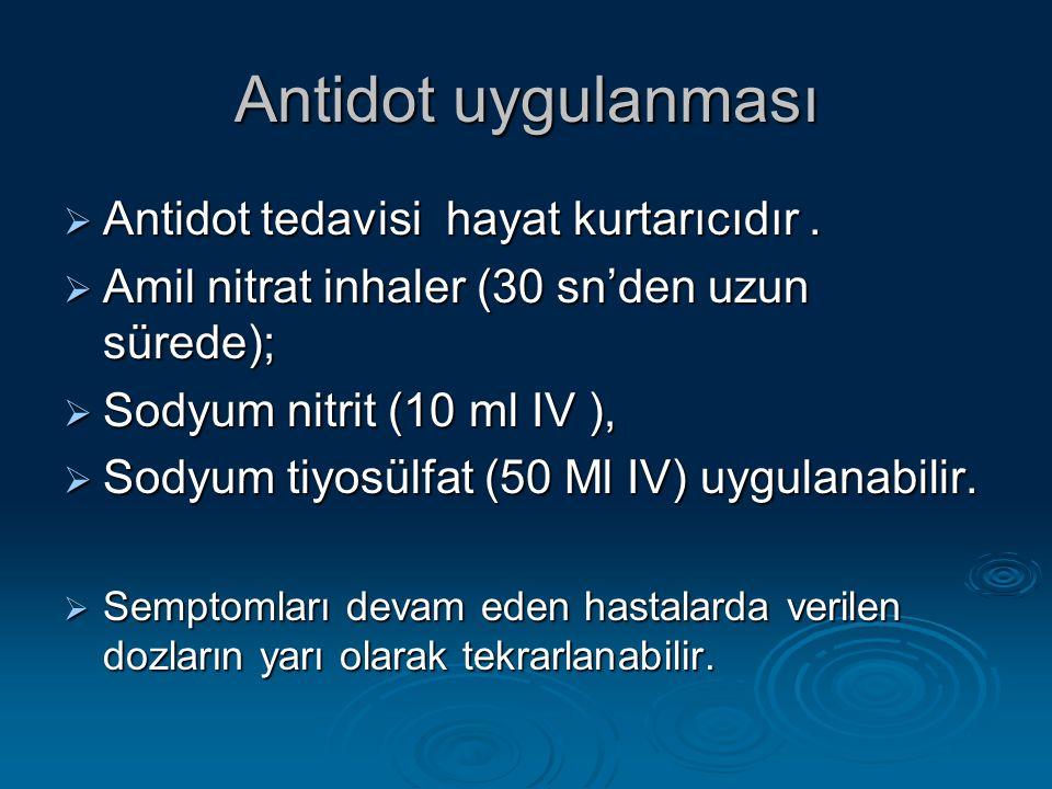Antidot uygulanması  Antidot tedavisi hayat kurtarıcıdır.  Amil nitrat inhaler (30 sn'den uzun sürede);  Sodyum nitrit (10 ml IV ),  Sodyum tiyosü