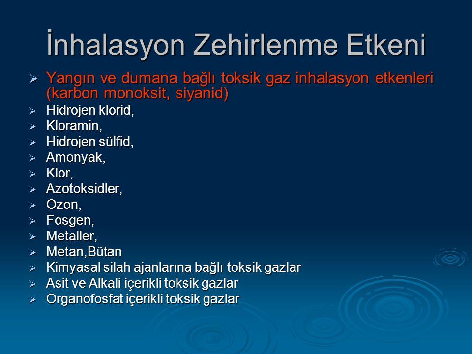 İnhalasyon Zehirlenme Etkeni  Yangın ve dumana bağlı toksik gaz inhalasyon etkenleri (karbon monoksit, siyanid)  Hidrojen klorid,  Kloramin,  Hidrojen sülfid,  Amonyak,  Klor,  Azotoksidler,  Ozon,  Fosgen,  Metaller,  Metan,Bütan  Kimyasal silah ajanlarına bağlı toksik gazlar  Asit ve Alkali içerikli toksik gazlar  Organofosfat içerikli toksik gazlar