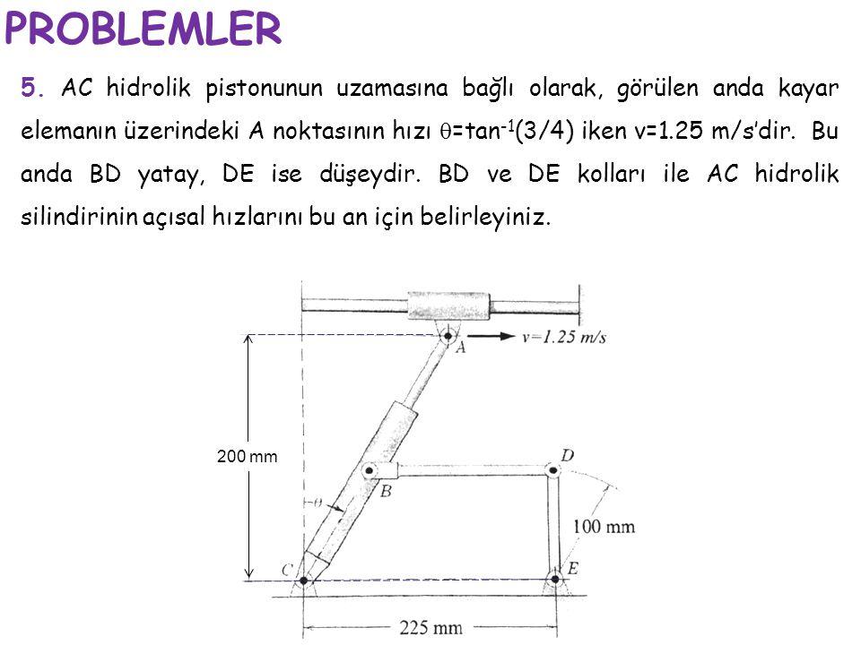 PROBLEMLER 5. AC hidrolik pistonunun uzamasına bağlı olarak, görülen anda kayar elemanın üzerindeki A noktasının hızı  =tan -1 (3/4) iken v=1.25 m/s'