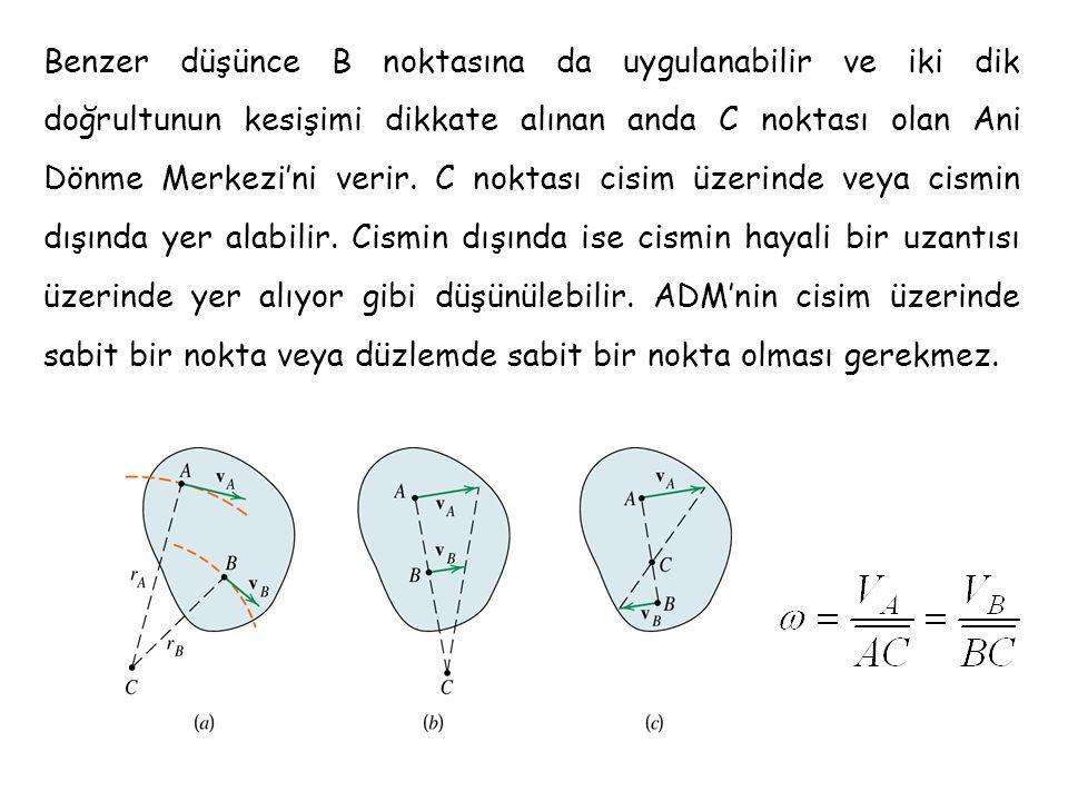 Benzer düşünce B noktasına da uygulanabilir ve iki dik doğrultunun kesişimi dikkate alınan anda C noktası olan Ani Dönme Merkezi'ni verir. C noktası c