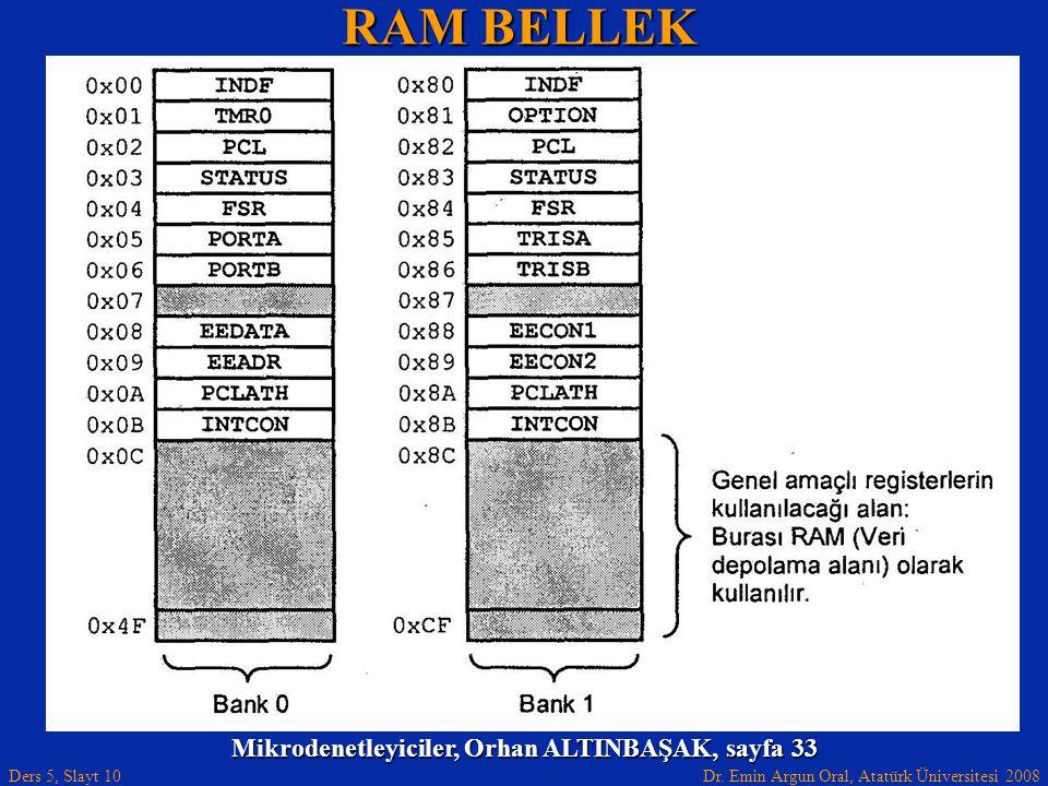 Dr. Emin Argun Oral, Atatürk Üniversitesi 2008 Ders 5, Slayt 10 RAM BELLEK Mikrodenetleyiciler, Orhan ALTINBAŞAK, sayfa 33