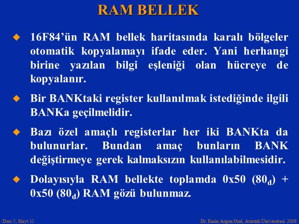 Dr. Emin Argun Oral, Atatürk Üniversitesi 2008 Ders 5, Slayt 11 RAM BELLEK   16F84'ün RAM bellek haritasında karalı bölgeler otomatik kopyalamayı if