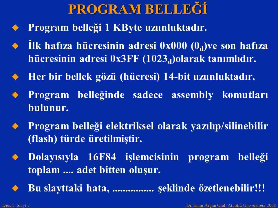 Dr. Emin Argun Oral, Atatürk Üniversitesi 2008 Ders 5, Slayt 7   Program belleği 1 KByte uzunluktadır.   İlk hafıza hücresinin adresi 0x000 (0 d )