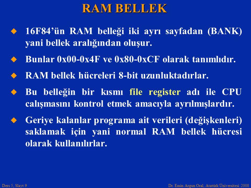 Dr. Emin Argun Oral, Atatürk Üniversitesi 2008 Ders 5, Slayt 9   16F84'ün RAM belleği iki ayrı sayfadan (BANK) yani bellek aralığından oluşur.   B