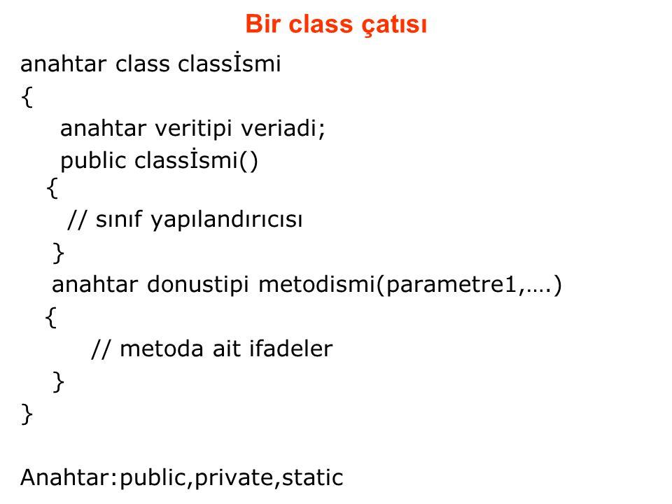 Bir class çatısı anahtar class classİsmi { anahtar veritipi veriadi; public classİsmi() { // sınıf yapılandırıcısı } anahtar donustipi metodismi(param