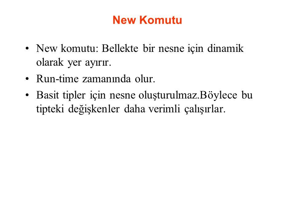 New Komutu New komutu: Bellekte bir nesne için dinamik olarak yer ayırır. Run-time zamanında olur. Basit tipler için nesne oluşturulmaz.Böylece bu tip