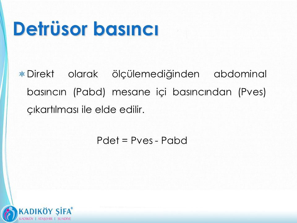 Detrüsor basıncı  Direkt olarak ölçülemediğinden abdominal basıncın (Pabd) mesane içi basıncından (Pves) çıkartılması ile elde edilir.