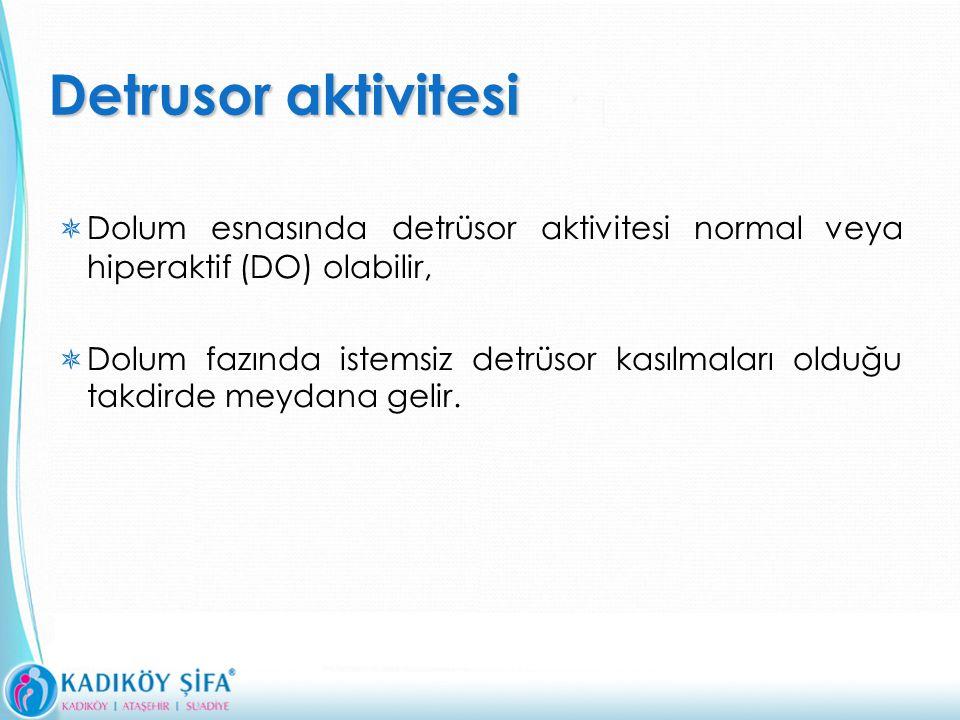 Detrusor aktivitesi  Dolum esnasında detrüsor aktivitesi normal veya hiperaktif (DO) olabilir,  Dolum fazında istemsiz detrüsor kasılmaları olduğu takdirde meydana gelir.