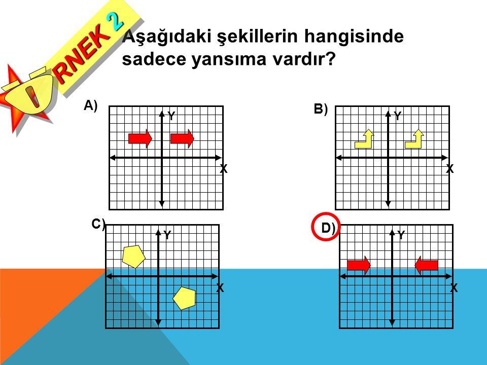 Y X Y X Y X Y X Aşağıdaki şekillerin hangisinde sadece yansıma vardır? A) B) C) D) RNEK 2