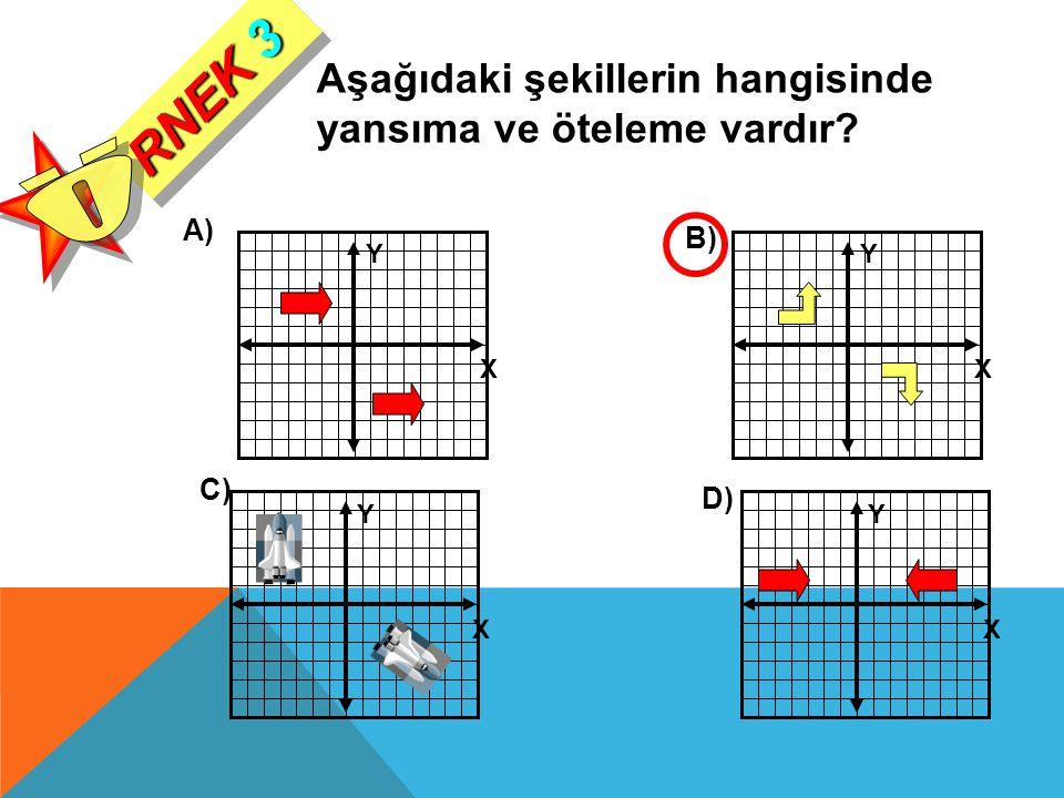 Y X Y X Y X Y X Aşağıdaki şekillerin hangisinde yansıma ve öteleme vardır? A) B) C) D) RNEK 3