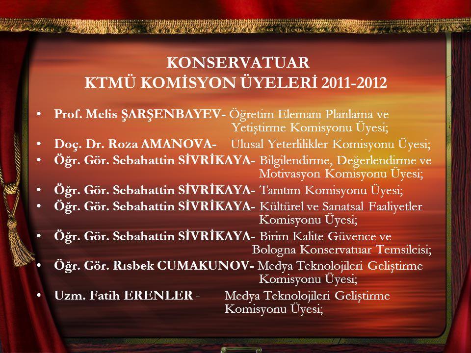 KONSERVATUAR KTMÜ KOMİSYON ÜYELERİ 2011-2012 Prof.