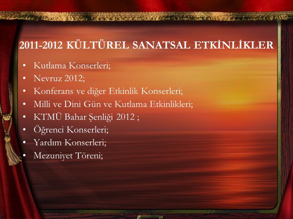 2011-2012 KÜLTÜREL SANATSAL ETKİNLİKLER Kutlama Konserleri; Nevruz 2012; Konferans ve diğer Etkinlik Konserleri; Milli ve Dini Gün ve Kutlama Etkinlikleri; KTMÜ Bahar Şenliği 2012 ; Öğrenci Konserleri; Yardım Konserleri; Mezuniyet Töreni;