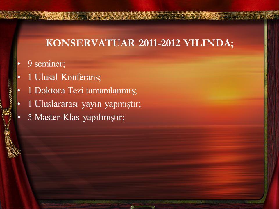 KONSERVATUAR 2011-2012 YILINDA; 9 seminer; 1 Ulusal Konferans; 1 Doktora Tezi tamamlanmış; 1 Uluslararası yayın yapmıştır; 5 Master-Klas yapılmıştır;