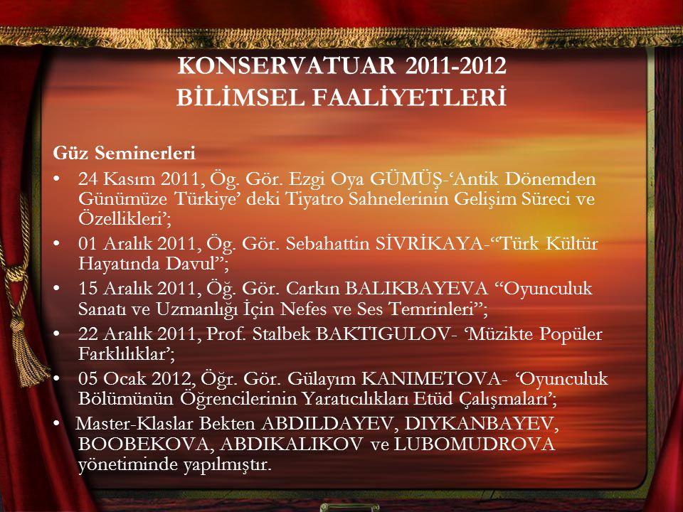 KONSERVATUAR 2011-2012 BİLİMSEL FAALİYETLERİ Güz Seminerleri 24 Kasım 2011, Ög. Gör. Ezgi Oya GÜMÜŞ-'Antik Dönemden Günümüze Türkiye' deki Tiyatro Sah