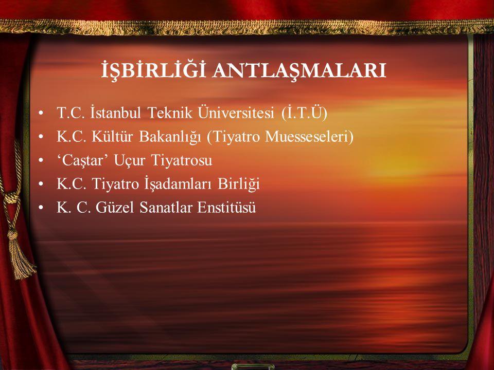 İŞBİRLİĞİ ANTLAŞMALARI T.C. İstanbul Teknik Üniversitesi (İ.T.Ü) K.C. Kültür Bakanlığı (Tiyatro Muesseseleri) 'Caştar' Uçur Tiyatrosu K.C. Tiyatro İşa